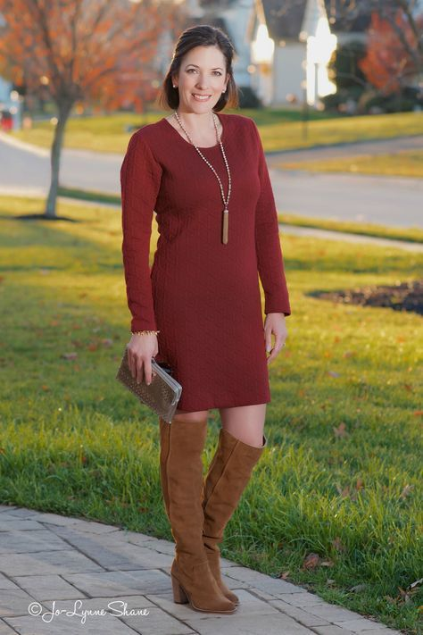 Winter Party Outfit: OTK Boots + Shift Dress