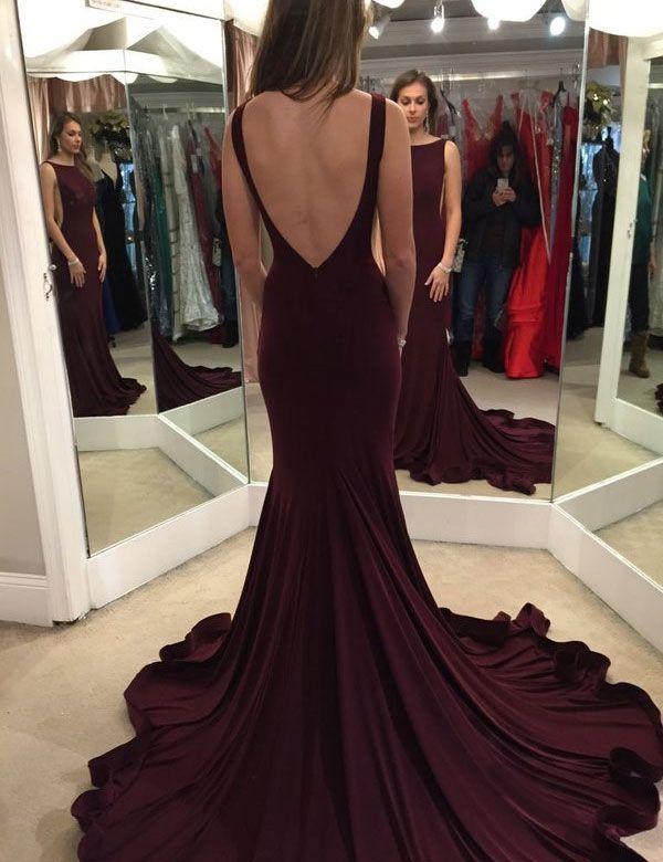 Elegant Scoop Sweep Train Burgundy Backless Prom Dress Evening Gown