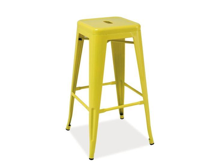 LONG kovová barová stolička žltá | Najlacnejší Nábytok SK