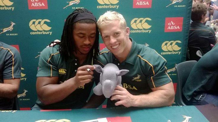 Rhino posing with some of the SA Boks!