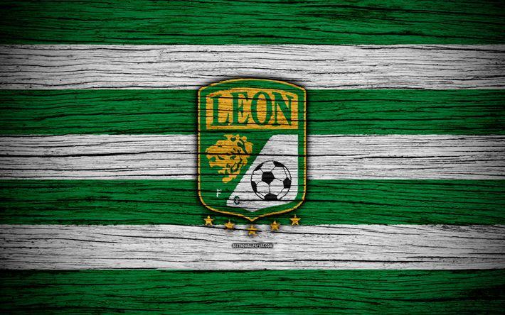 Download wallpapers Club Leon FC, 4k, Liga MX, football, Primera Division, soccer, Mexico, Club Leon, wooden texture, football club, FC Club Leon