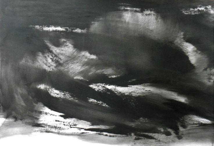 Abstraction in monochrome 'light in the darkness oil on paper 102 x 85 cms