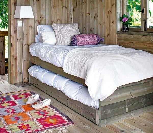 Dormitorio infantil caba a de madera peque a cama nido for Cabanas infantiles en madera