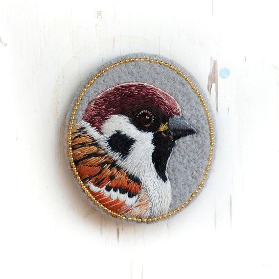 sparrow . bird . brooch . handmade . felt . needle felted . hand embroidered . animal