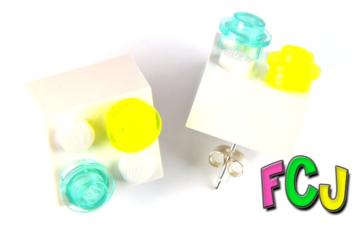 Lego Earrings - Cyber Neon Blue & YellowBadges Earrings, Studs Earrings, Lego Earrings