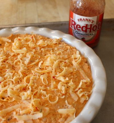 Baked Buffalo Chicken Dip ~ when wings are too labor intensive =) Note the Frank's Red Hot...best. wing. sauce. ever.