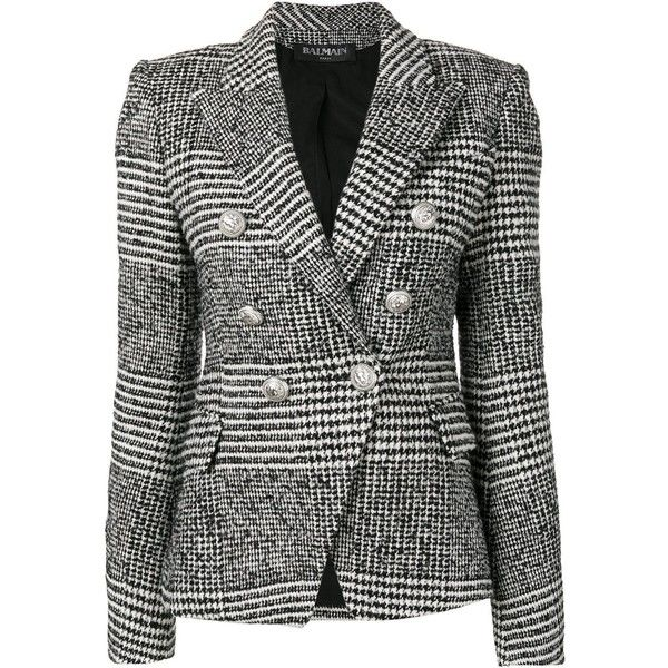 NEW DESIGNER STYLE BLACK AND WHITE TWEED JACKET DOUBLE BREASTED CASUAL LONG COAT