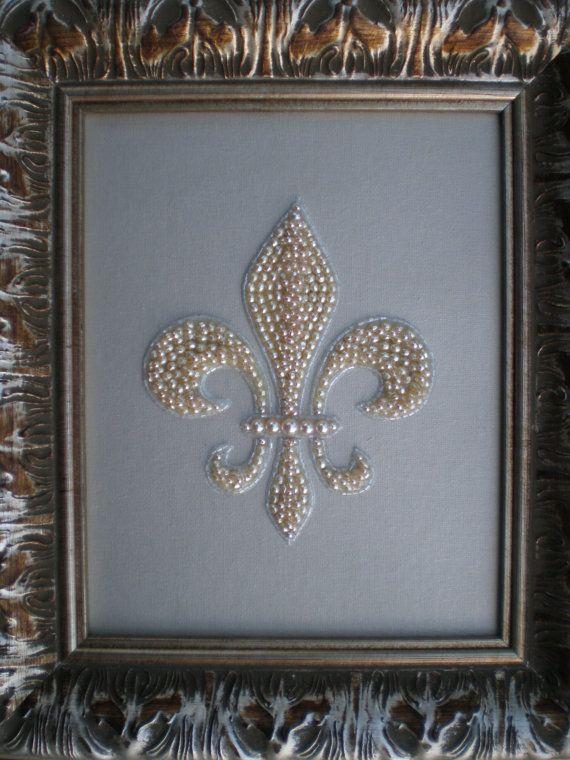 Beaded Fleur De Lis Art by MissigirlDesigns on Etsy, $100.00