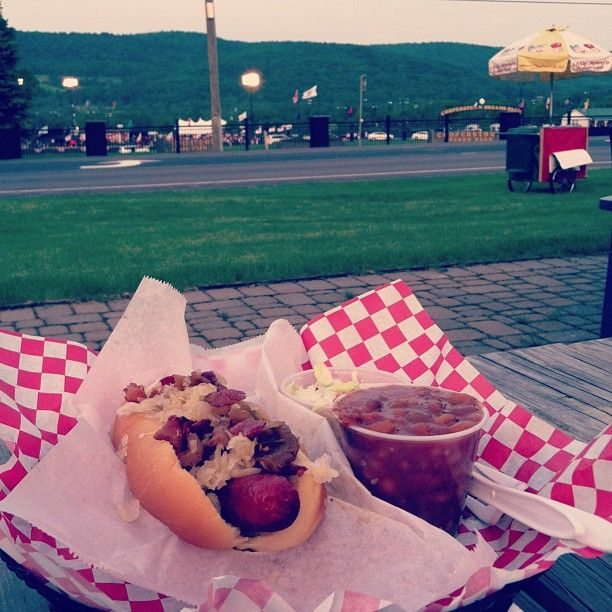 Cooperstown Hot Dog at DiMaggio's, Cooperstown, NY - best hot dog EVER (white cheddar, apple relish, kraut, and bacon)! Photo by Greta Zefo