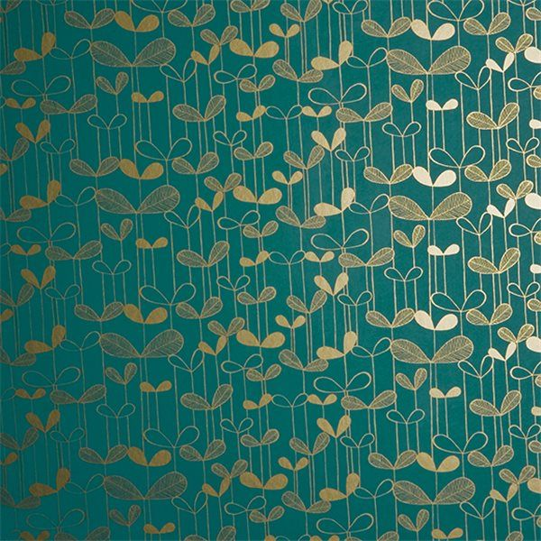 Fond bleu canard imprimé feuilles dorées