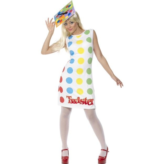 Female Twister Costume, Multi-Coloured, with Dress and Hat