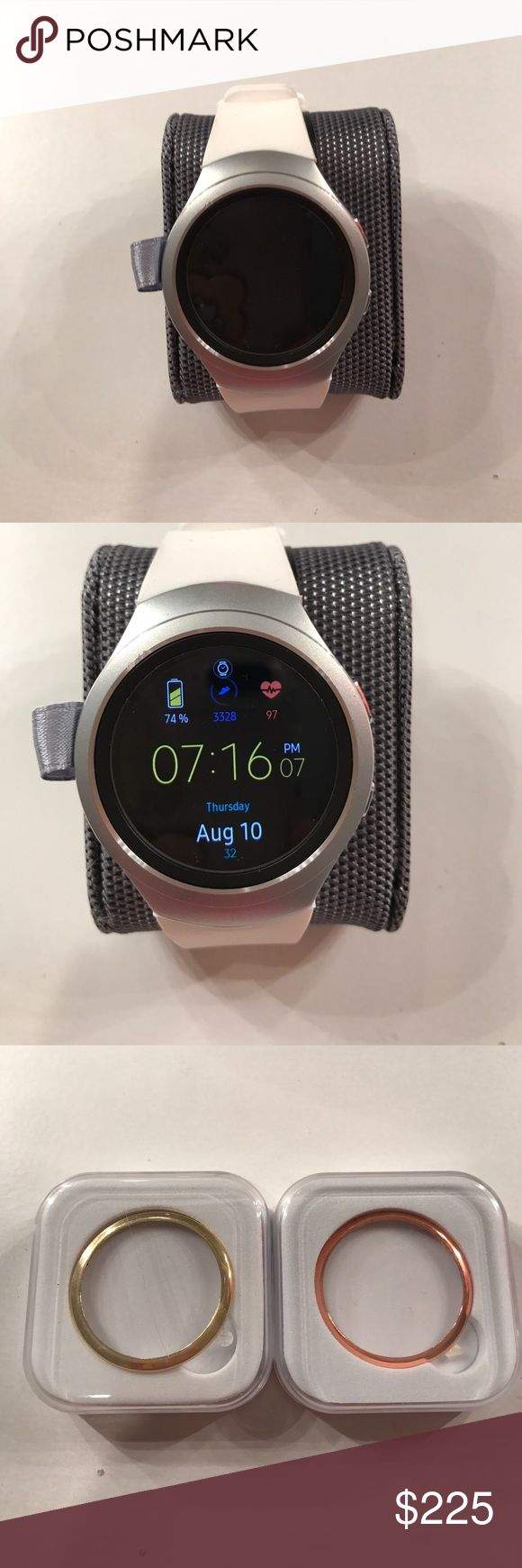 Samsung Gear s2 smart watch Stand alone Samsung Gear s2 watch. Receive calls, texts, emails, track fitness, heart monitor, and more. Like new, great condition. Priced to sell only $200.00 OBO all this included. Samsung Accessories Watches