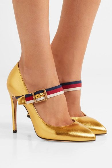 Heel measures approximately 105mm/ 4 inches  Gold leather Buckle-fastening strap Made in Italy