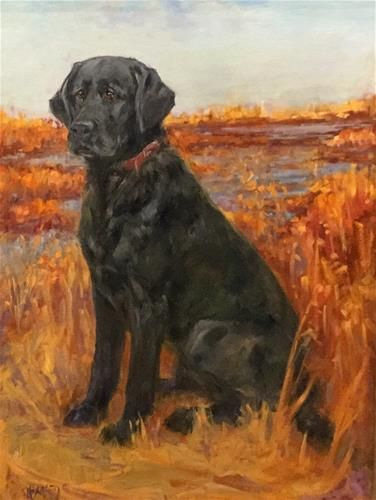 "Daily Paintworks - ""In the Reeds - Black Lab"" - Original Fine Art for Sale - © Mary Beacon"