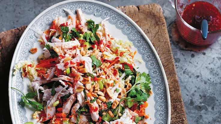 For us, this is the definitive Asian salad: healthy, low-fat,  low-carb and packed with flavour, crunch and other positive, go-getting qualities. If you poach the chicken breasts and prep the vegetables and dressing earlier, the whole thing comes together in moments – perfect for a midweek summer dinner.