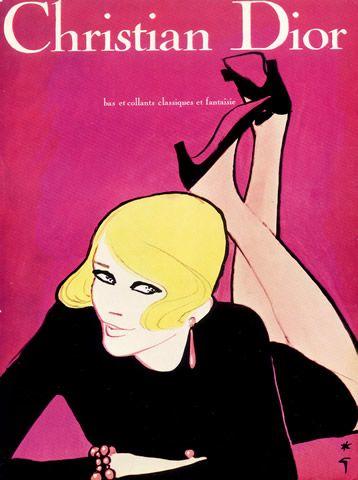 By René Gruau, 1967, Lingerie Christian Dior, Stockings Hosiery, Tights.