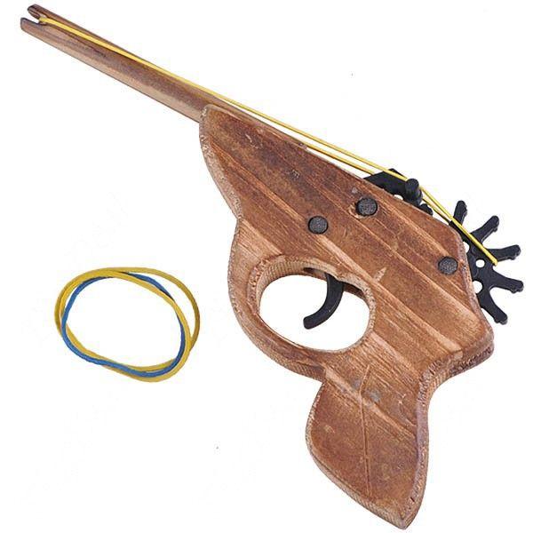 22cm Classical Wooden Pistol Gun Rubber Band ShootingToy