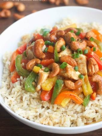 Skinny Asian Chicken Stir-Fry with Honey Roasted Cashews