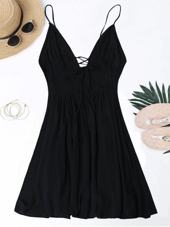 ladies Plunge Low Back Lace Up Sundress - BLACK