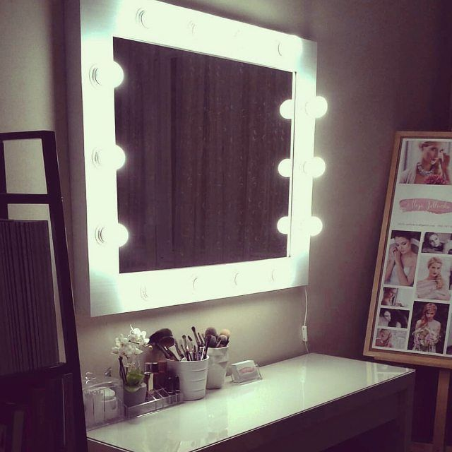 One of our realization. Llighten mirror for make-up artist and hairdresser in pine wood frame and LED lighting bulbs  More projects at our facebook fanpage -> https://www.facebook.com/ZAPprojectGroup/ and our store http://zapproject.pl/