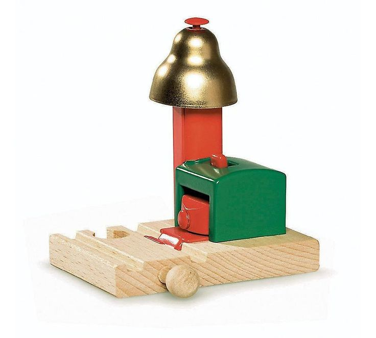 The Brio Magnetic Bell Signal rings a bell when a train       is coming, announcing the approach of a magnificent locomotive and       preventing accidents. The bell is operated by magnet so there is no       battery to run out.      Features:        Bell rings when train passes        Quality,durable design        Compatible with other Brio railway components        No batteries required      Age guide: 3 years and up      Size: 10cm x 10cm x 8cm
