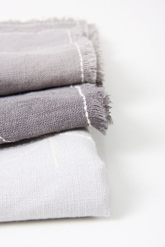 """grey linen napkin """"WINTER"""" 13 x 18"""" with embrodery in three designs (winter landscape, christmas decoration, stars) £10.52"""