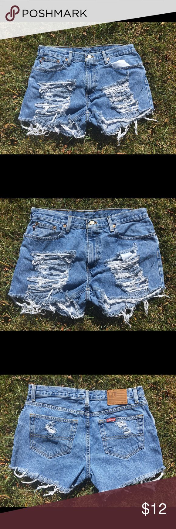 Ralph Lauren Polo women Shorts size 10 Ralph Lauren size 10 women ripped shorts!!! Keep up with the style and grab these jeans to go to the beach, ocean, pool, or out with the girlfriends!! These are used, ripped and cut by me if you want more ripping just contact me, customers request is my priority!!! Polo by Ralph Lauren Jeans