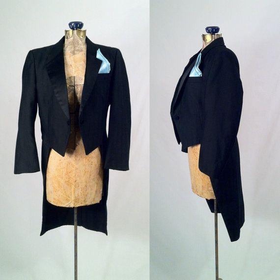 Vintage 1980s Pin Striped Tuxedo Tails Jacket  ROBERT by SLVintage, $88.00