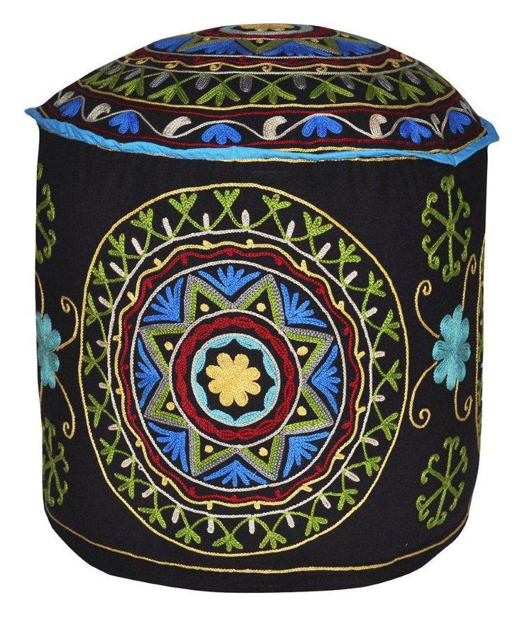 Cotone Nero Poggiapiedi / ottomano PFS-61045 X 45 X 35 CM | Arts of India – Italy