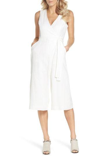 3c7132001e1 Adelyn Rae Landra Wrap Front Cotton   Linen Culotte Jumpsuit