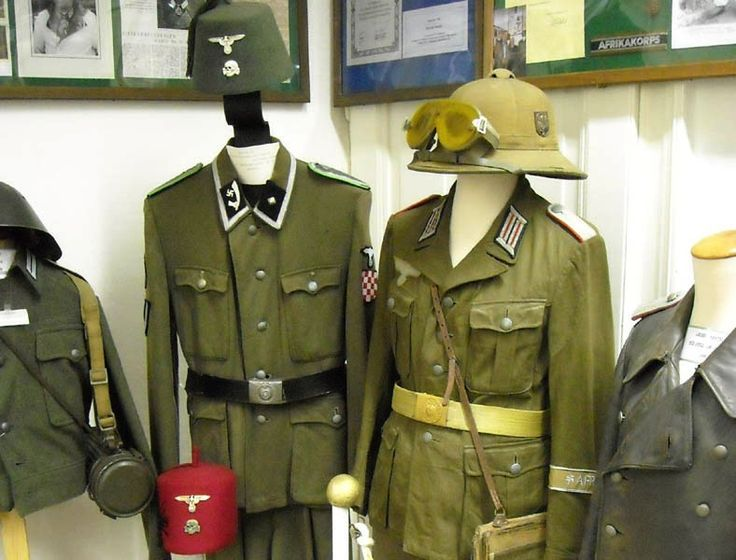 German World War II uniforms at the Celler Garrison Museum in Celle. These uniforms were used in Africa and the Middle east.