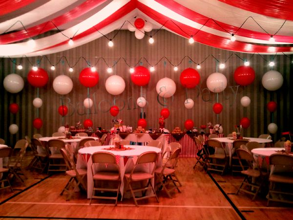 Under the Big Top Balloon Backdrop Circus Themed Wedding