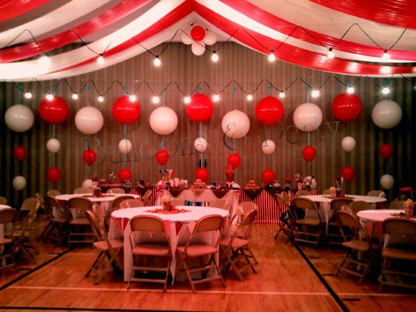 Under the Big Top Balloon Backdrop Circus Themed Wedding