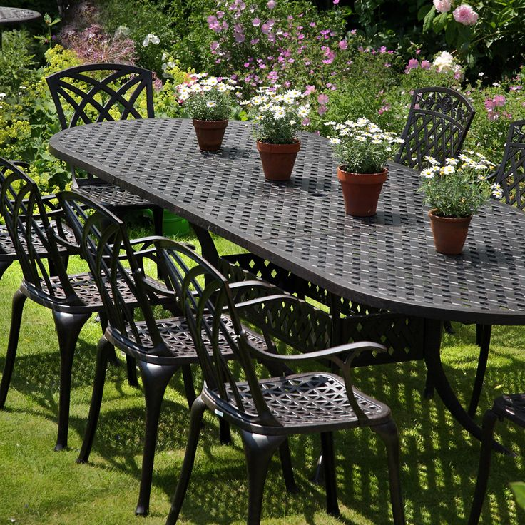Quality cast iron garden furniture extension 10 seater for 10 seater garden table