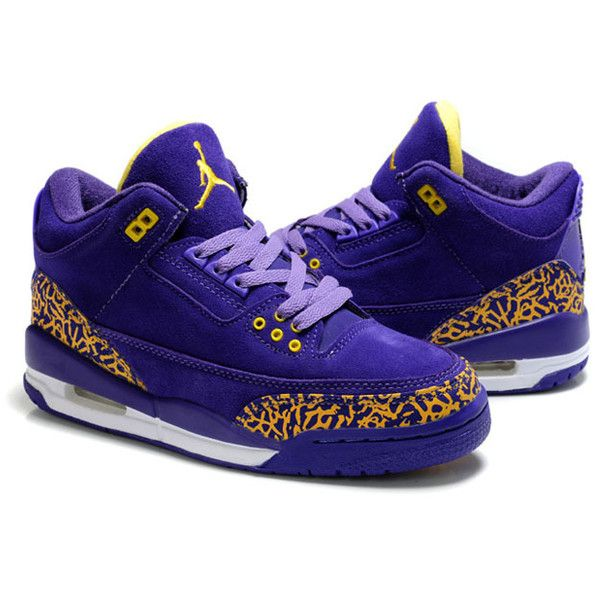 Michael Jordans III Ladies Shoes Purple and Yellow Suede ❤ liked on Polyvore featuring shoes, purple shoes, suede leather shoes, yellow shoes, purple suede shoes and suede shoes