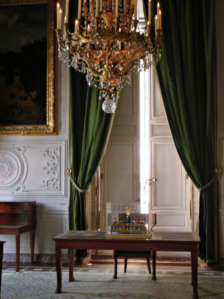 Napoleons office, with Emerald curtains, new again.....Emerald is Pantone's color of the year 2013.
