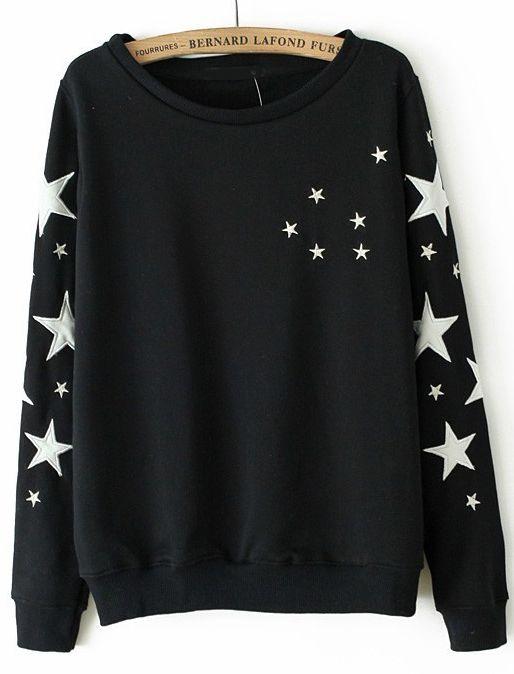 Black Long Sleeve Stars Embroidered Sweatshirt