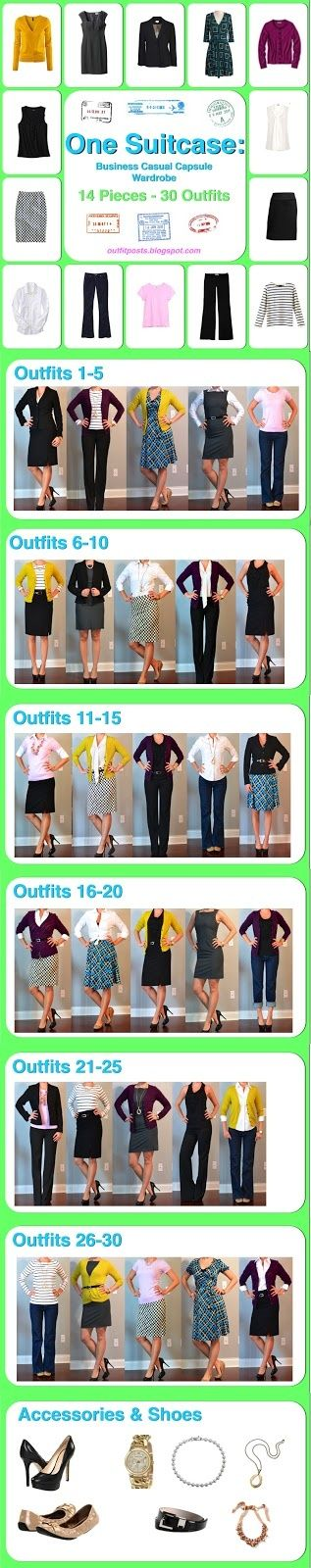 One suitcase: business casual wardrobe - 14 pieces 30 outfits