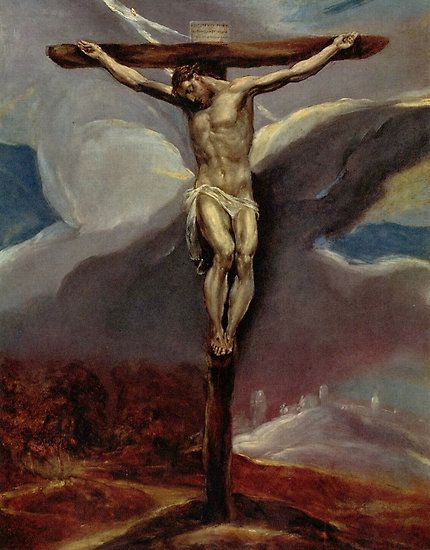 'Christ on the Cross' by El Greco./  christ on the cross, el greco, bible, jesus, daniel, lion, christ, faith, religious, christian, religion, god, love, christianity, prayer, biblical, lord, lions trial, trial, punishment, parable, book of daniel, courage, reproduction, holy, messiah, jesus christ, savior, death, resurrection, reborn, easter, born again, cross, crucifix, crucified, crucifixion, sky, clouds, spanish, greek, inri, jesus of nazareth, hill, Christmas #Legacy1Gallery #Christian…