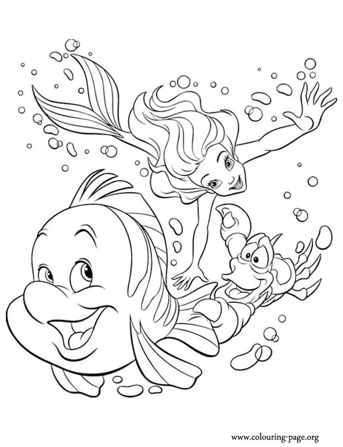 have fun with this coloring page of princess ariel sebastian and flounder they are