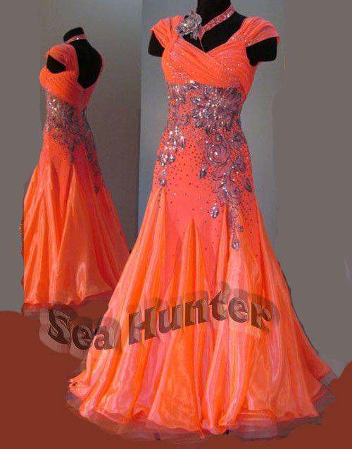 Ballroom Standard Tango Waltz Quickstep US10 Dance Dress#B3149 Orange/ yellow