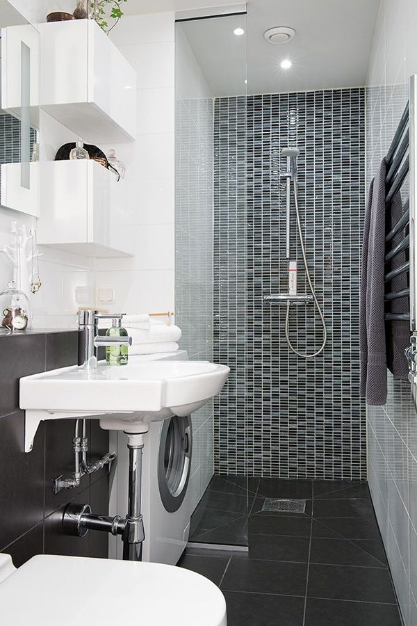 small laundry with shower bathroom