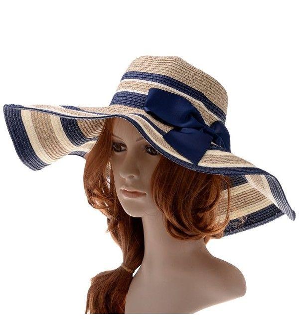 Womens Beachwear Sun Hat Big Bowknot Straw Hat Wide Brim Hat Stripe Floppy Hats Azure C911YNIIXMJ – Women's Hats & Caps & Fashion Women