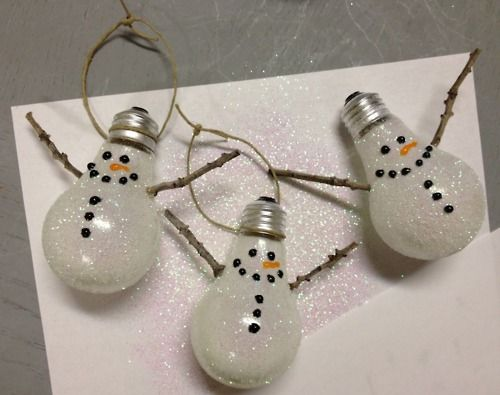 Snowmen ornaments....made from those old lightbulbs you are wanting to replace  with eco friendly ones anyways;)