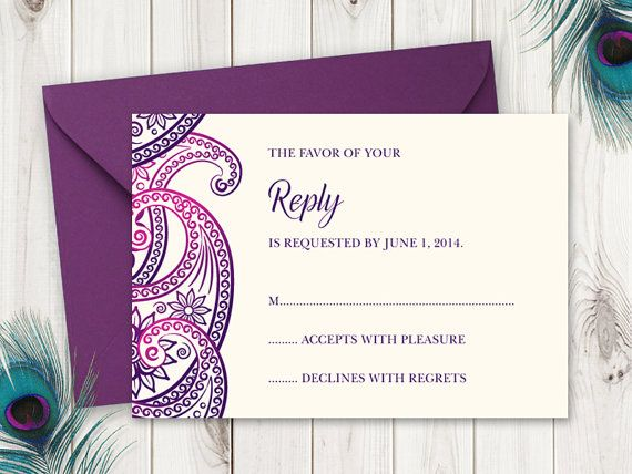 Printable Wedding RSVP Card Template Paisley In Purple Indian Style Ethnic Invites By Shishko Templates