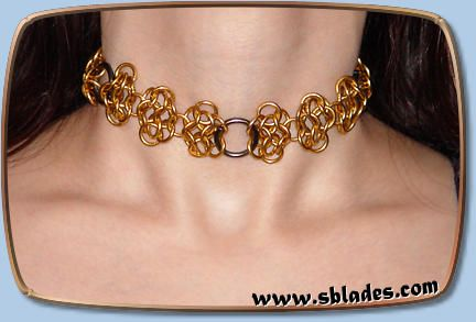 Chainmail & More Steel-lace choker, Chainmail metal lace neck jewelry, Steampunk accessory