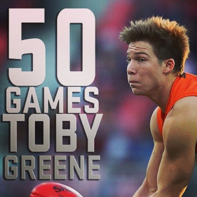 Congratulations to Toby Greene who is set to play his 50th game tomorrow against North Melbourne. Head to the GIANTS App to see his highlights package.