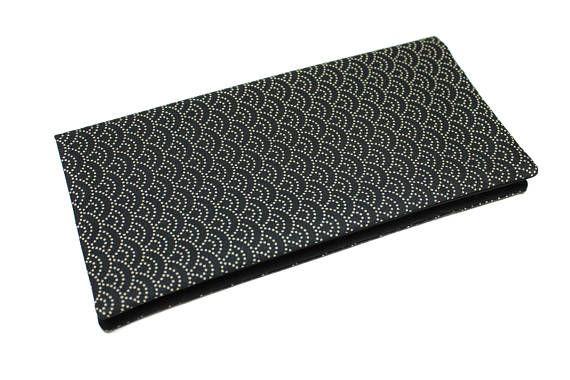 protège livret de famille en tissu japonais vagues noir et