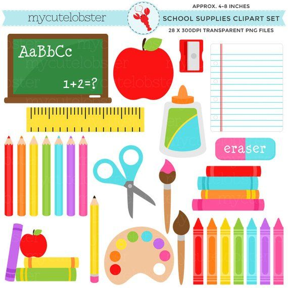 School Clipart Set Stationery Back To School Pencils Crayons
