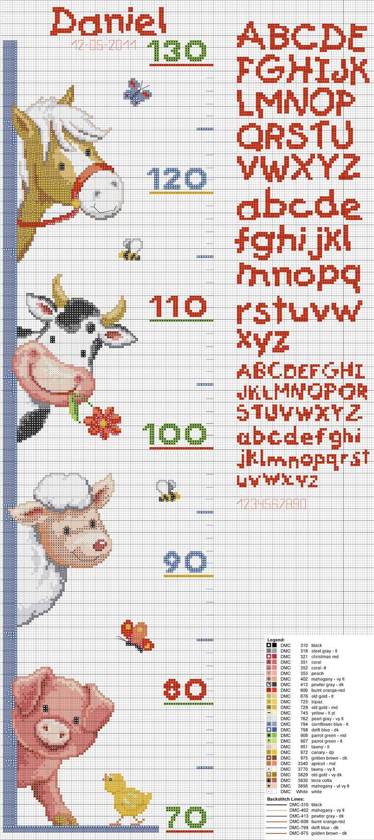 Metro cameretta animali fattoria punto croce baby cavallo mucca percorella maialino alfabeto